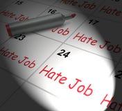 Trabajo de Job Calendar Displays Miserable At del odio Imagenes de archivo