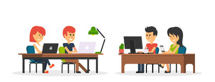 Trabajo de la gente en el diseño de la oficina plano stock de ilustración