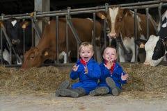 Trabajo de los niños sobre la granja imagenes de archivo