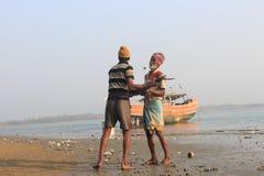 Trabajo de los pescadores Foto de archivo libre de regalías