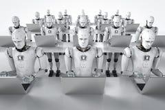 Trabajo de los robots sobre el ordenador portátil ilustración del vector
