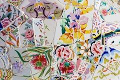 Trabajo de mosaico de Gaudi en el parque Guell Fotografía de archivo