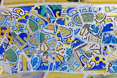 Trabajo de mosaico de Gaudi en el parque Guell Imagen de archivo