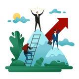 Trabajo de oficina Subida de la gente al liderazgo Alcance el éxito Concepto de crecimiento de la carrera Vector Illustra del con ilustración del vector