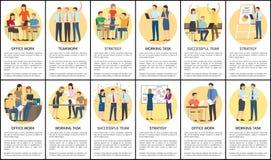 Trabajo de oficina y ejemplo determinado del vector del trabajo en equipo libre illustration