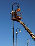 Trabajo del electricista. Imagen de archivo