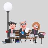 Trabajo del equipo del negocio que almuerza en un banco de parque 3d libre illustration