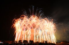 Trabajo del fuego de las torres de Kuwait Fotografía de archivo libre de regalías