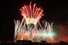 Trabajo del fuego de las torres de Kuwait Foto de archivo libre de regalías