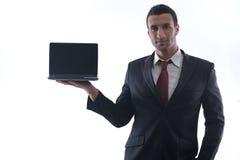 Trabajo del hombre de negocios sobre la mini computadora portátil Imágenes de archivo libres de regalías