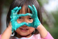 Trabajo del niño y de la pintura Foto de archivo libre de regalías