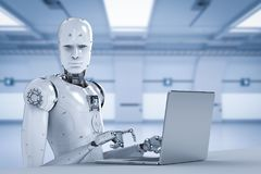 Trabajo del robot sobre el ordenador portátil libre illustration