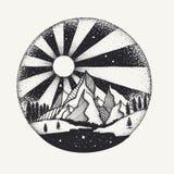 Trabajo dibujado mano de los puntos de la Luna Llena sobre monuntains y del río para el elemento del diseño Ilustración del vecto libre illustration