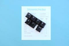 Trabajo en casa deletreado hacia fuera en llaves de teclado Imagen de archivo libre de regalías