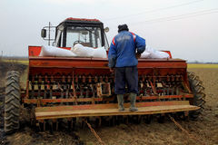 Trabajo en el terreno de la primavera en zonas rurales del Transcarpathia Foto de archivo