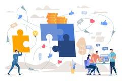 Trabajo en equipo en concepto plano del vector de la estrategia de marketing stock de ilustración