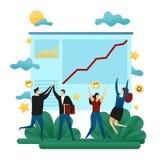 Trabajo en equipo de la cooperativa de la oficina Hombres de negocios felices Cepillado del éxito Línea dirección de Grouth a una stock de ilustración