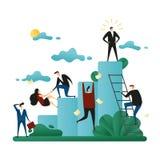 Trabajo en equipo de la cooperativa de la oficina Subida de la gente a la escalera corporativa El concepto de crecimiento de la c ilustración del vector