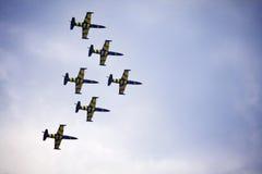 Trabajo en equipo en el cielo Abejas bálticas en la acción Foto de archivo libre de regalías