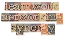 Trabajo en equipo, establecimiento de una red y sinergia Imagen de archivo libre de regalías