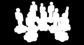 Trabajo en equipo Grupo de soporte estilizado de la gente en los engranajes ilustración del vector