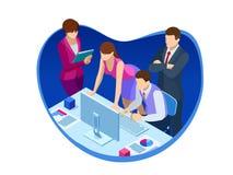 Trabajo en equipo isométrico y márketing digital, reunión, innovación creativa del negocio ilustración del vector