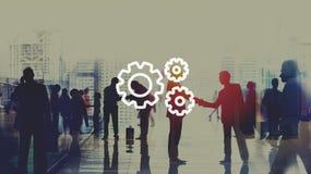 Trabajo en equipo Team Collaboration Connection Gear Organisation Fotos de archivo
