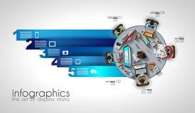 Trabajo en equipo y reunión de reflexión de Infographic con estilo plano Fotografía de archivo