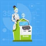 Trabajo femenino del robot moderno en concepto de la tecnología de Futuristic Artificial Intelligence del banquero del banco Imagenes de archivo