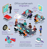 Trabajo isométrico Infographic del sistema de oficina libre illustration