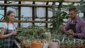 Trabajo joven de los floristas de los pares en centro de jardinería Flores cheking y mujer del hombre atractivo que usa la tablet almacen de metraje de vídeo