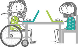 Trabajo o escuela y personas discapacitadas Imagen de archivo