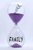 Trabajo o familia del reloj de arena Imagen de archivo libre de regalías