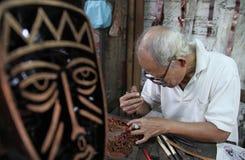 Trabajo para el sello del batik del tradisional Imagen de archivo libre de regalías