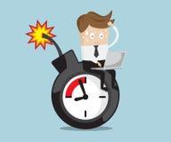 Trabajo que se sienta del hombre de negocios en la bomba de relojería cerca del plazo stock de ilustración