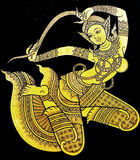 Trabajo tailandés antiguo de Manimekhala, la diosa de la laca del guarda del mar Imagen de archivo