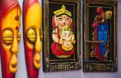 Trabajo tribal colorido indio de la máscara y de arte Fotografía de archivo