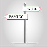 Trabajo y familia de la selección con los posts de la guía ilustración del vector