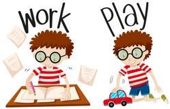 Trabajo y juego opuestos de los adjetivos stock de ilustración