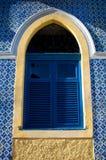 Trabajo y ventana brasileños tradicionales del azulejo Fotos de archivo