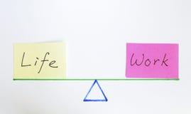 Trabajo y vida de la balanza Foto de archivo libre de regalías