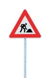 Trabajos de camino a continuación que advierten la muestra de camino poste aislado Foto de archivo libre de regalías