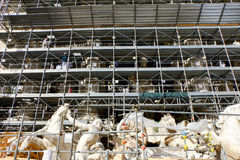 Trabajos de la reestructuración de la fuente del Trevi en Roma Imagen de archivo libre de regalías