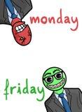Trabajos de lunes y del amigo Imágenes de archivo libres de regalías