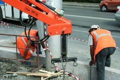 Trabajos del pavimento. Fotos de archivo libres de regalías