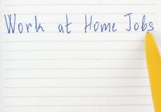 Trabajos del trabajo en casa en la página imagenes de archivo