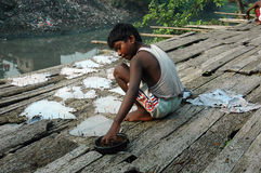 Trabajos infantiles en la India. Foto de archivo libre de regalías