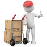 trabalhador 3D com um pacote e um polegar acima Imagem de Stock