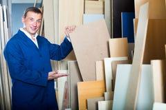 Trabalhador alegre que está com partes da madeira compensada Imagem de Stock
