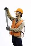 Trabalhador asiático no capacete de segurança Fotos de Stock